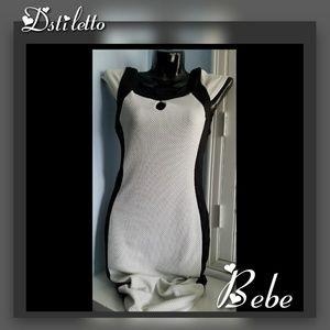 BEBE Blk White Spandex Pencil Maxi Dress